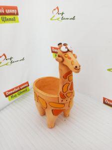 Керамическое зоокашпо Жираф